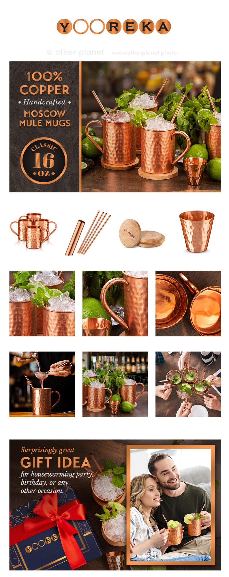 photoshoot for amazon product EBC Moscow Mule Mugs