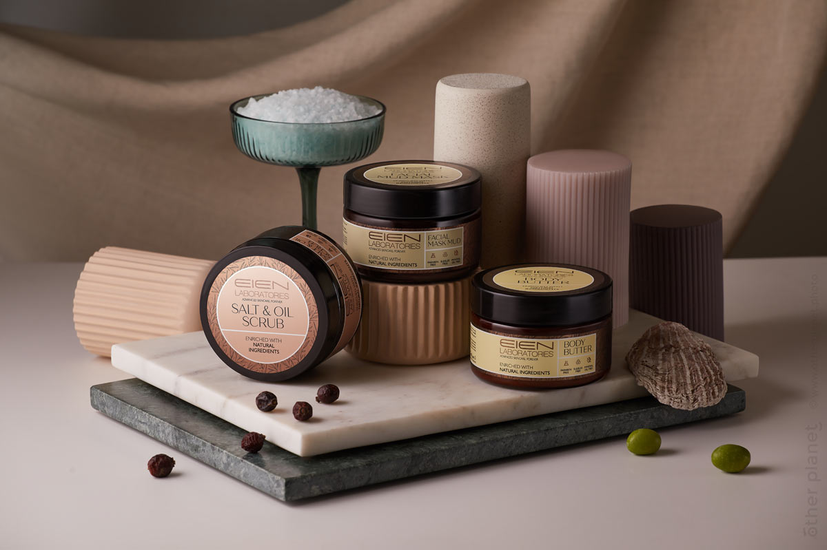 product advertising photography conemporary arrangement with dead sea cosmetics