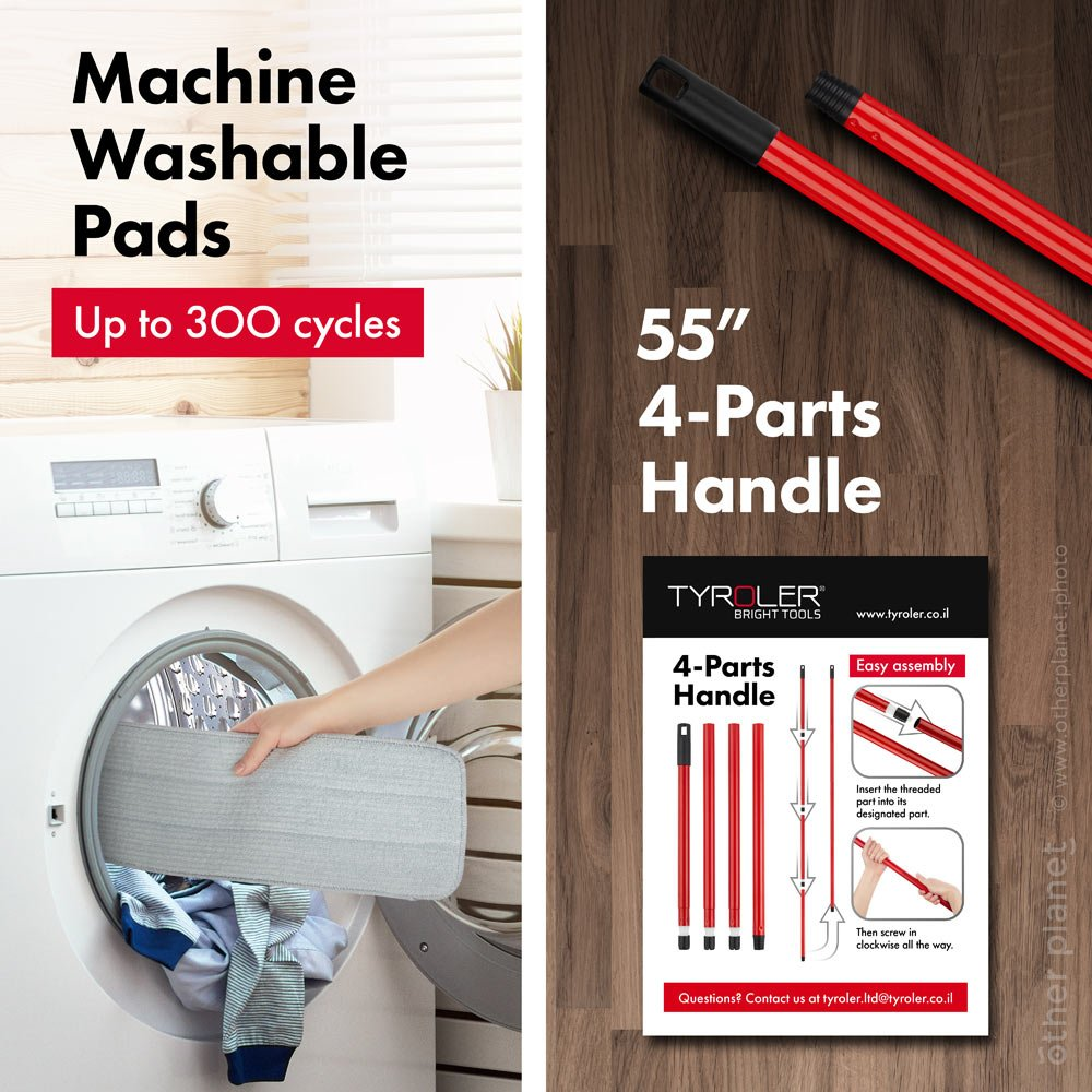 Product features explained in product image for mop pads and hanle